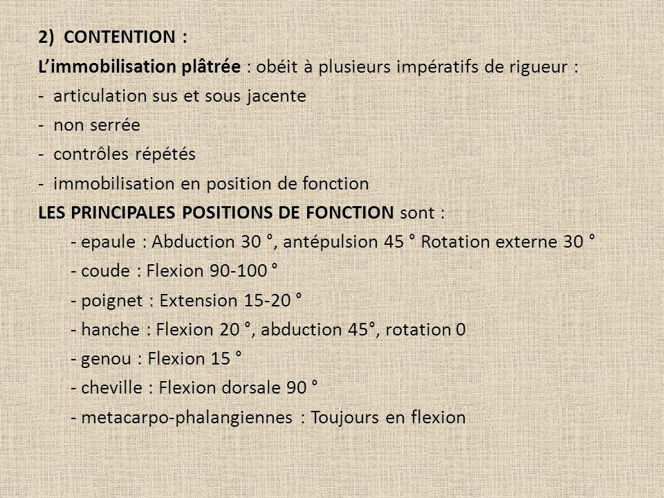 2) CONTENTION : L'immobilisation plâtrée : obéit à plusieurs impératifs de rigueur : - articulation sus et sous jacente - non serrée - contrôles répétés - immobilisation en position de fonction LES PRINCIPALES POSITIONS DE FONCTION sont : - epaule : Abduction 30 °, antépulsion 45 ° Rotation externe 30 ° - coude : Flexion 90-100 ° - poignet : Extension 15-20 ° - hanche : Flexion 20 °, abduction 45°, rotation 0 - genou : Flexion 15 ° - cheville : Flexion dorsale 90 ° - metacarpo-phalangiennes : Toujours en flexion