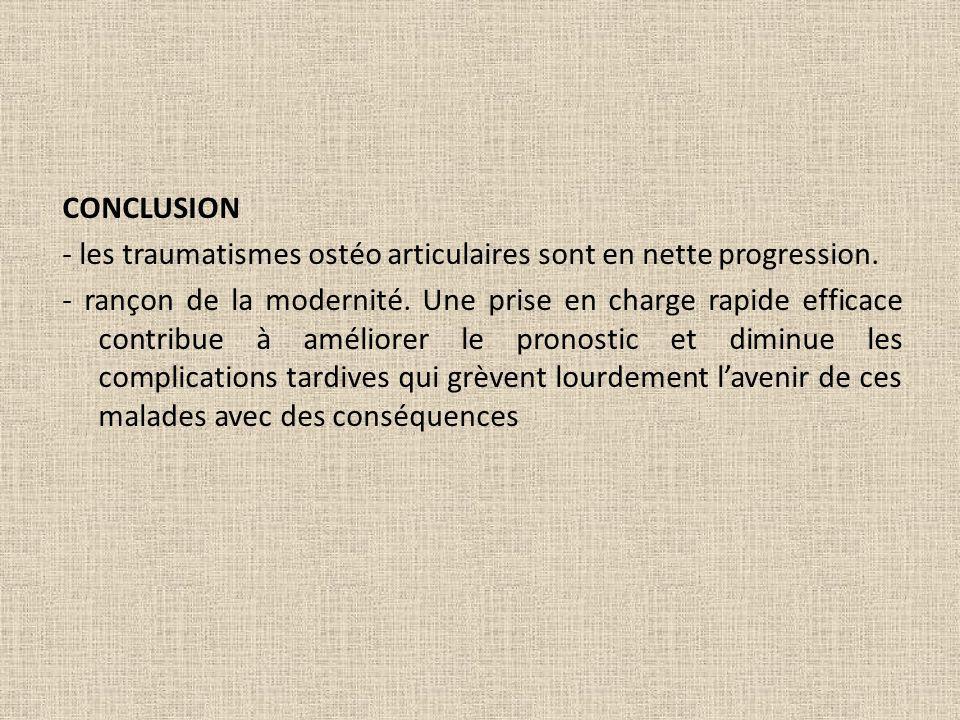 CONCLUSION - les traumatismes ostéo articulaires sont en nette progression.