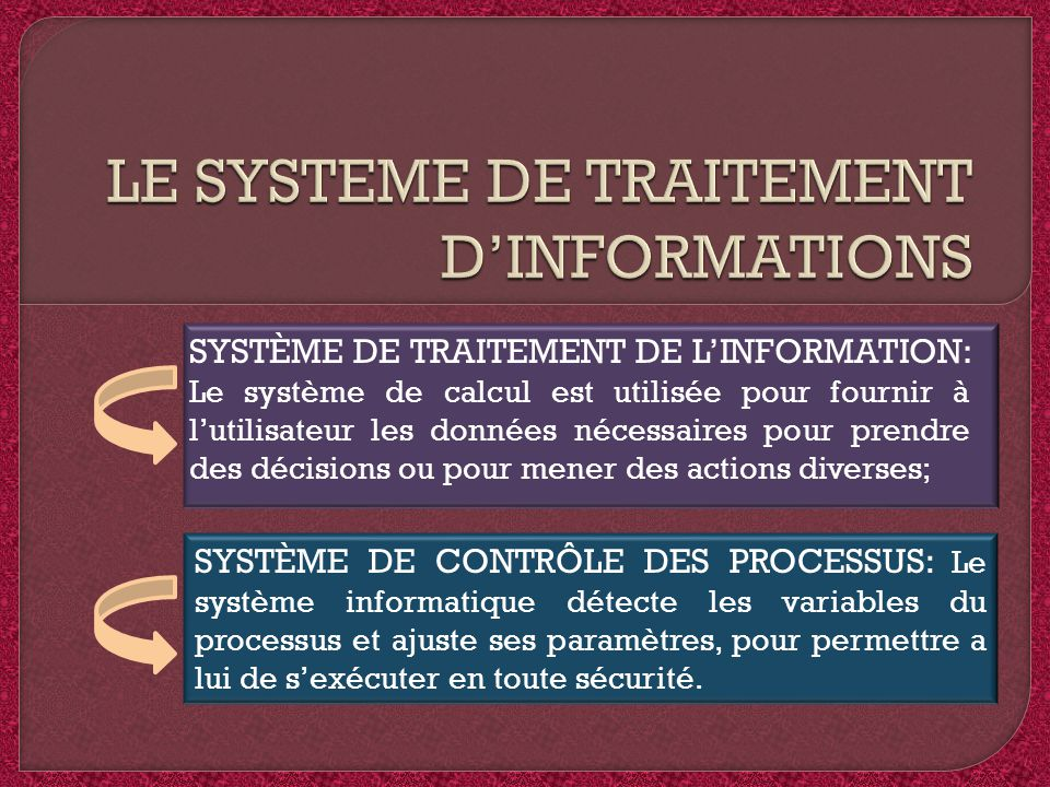 LE SYSTEME DE TRAITEMENT D'INFORMATIONS