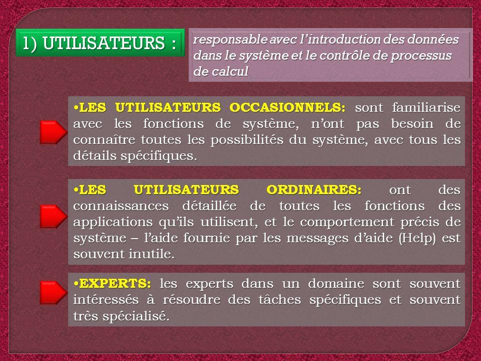1) UTILISATEURS : responsable avec l'introduction des données dans le système et le contrôle de processus de calcul.
