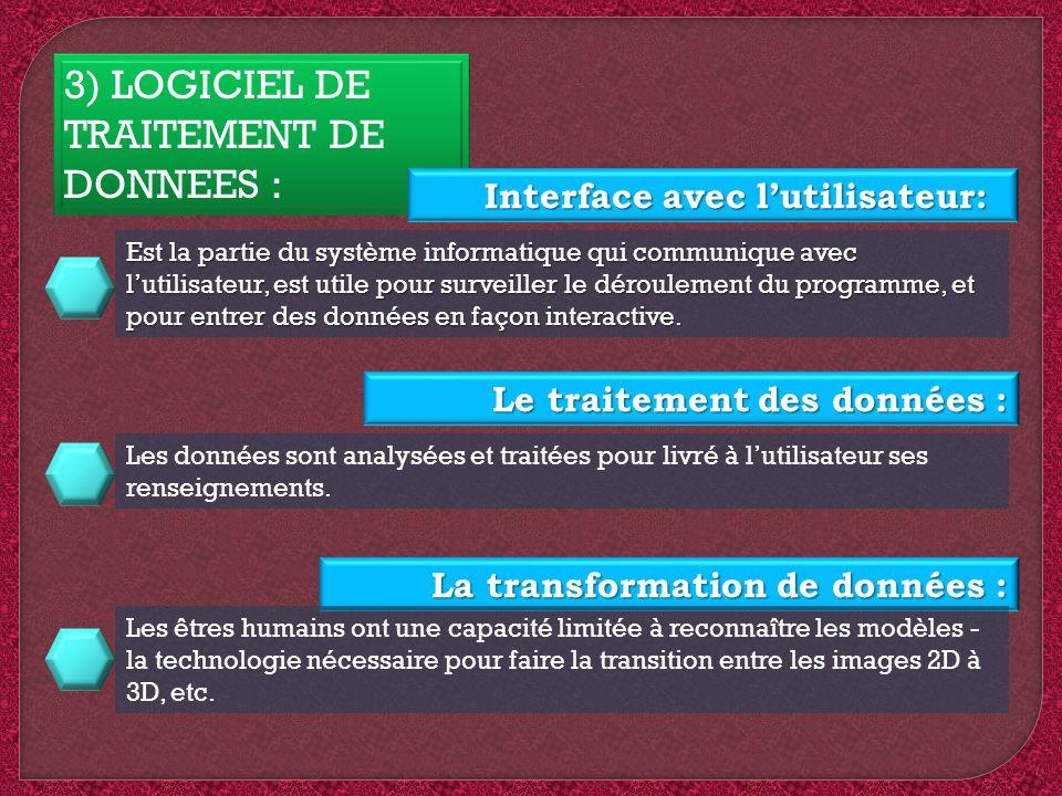 3) LOGICIEL DE TRAITEMENT DE DONNEES :