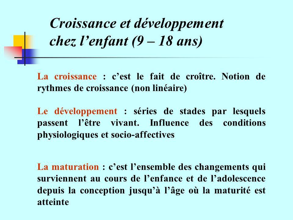 Croissance et développement chez l'enfant (9 – 18 ans)