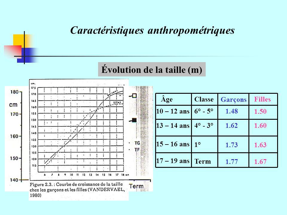 Évolution de la taille (m)