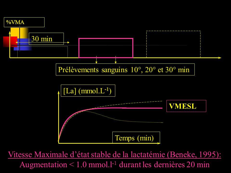 Vitesse Maximale d'état stable de la lactatémie (Beneke, 1995):