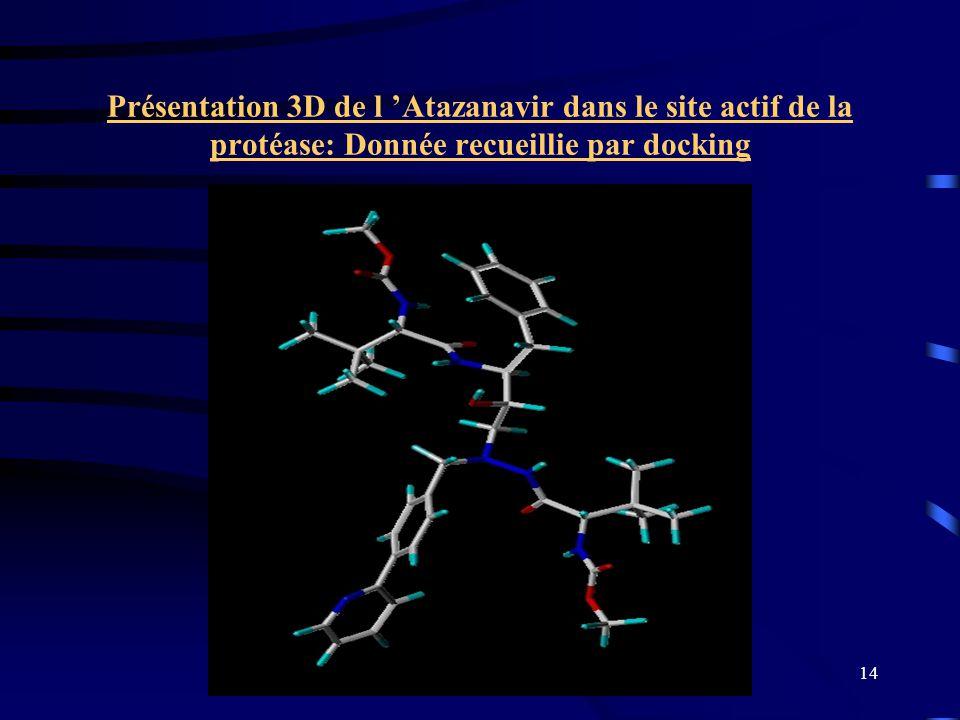 Présentation 3D de l 'Atazanavir dans le site actif de la protéase: Donnée recueillie par docking