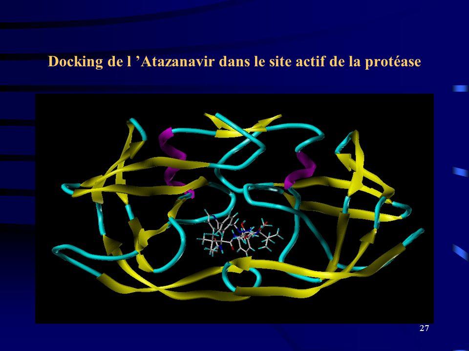 Docking de l 'Atazanavir dans le site actif de la protéase