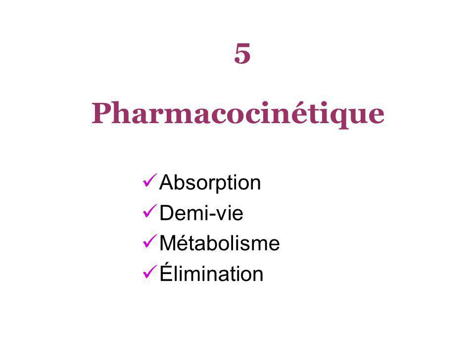 5 Pharmacocinétique Absorption Demi-vie Métabolisme Élimination
