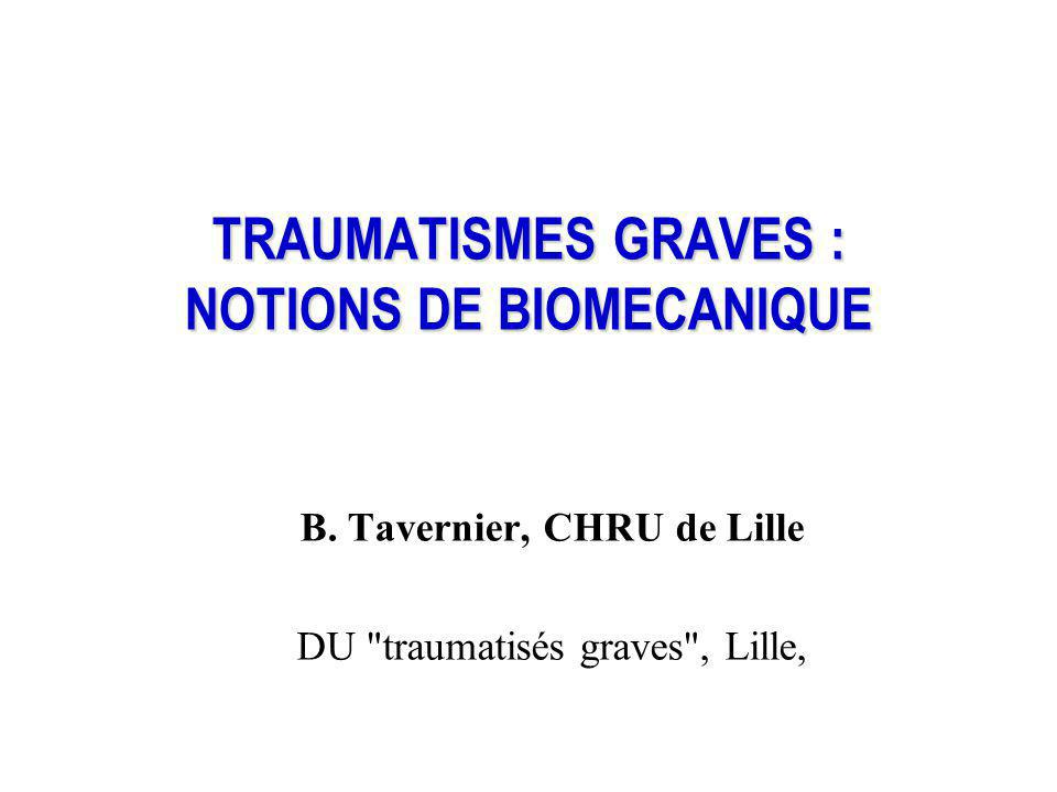 TRAUMATISMES GRAVES : NOTIONS DE BIOMECANIQUE