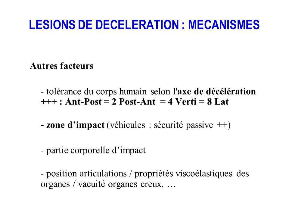 LESIONS DE DECELERATION : MECANISMES