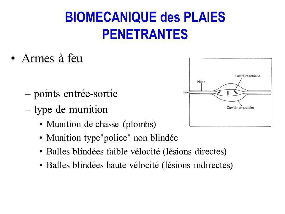 BIOMECANIQUE des PLAIES PENETRANTES