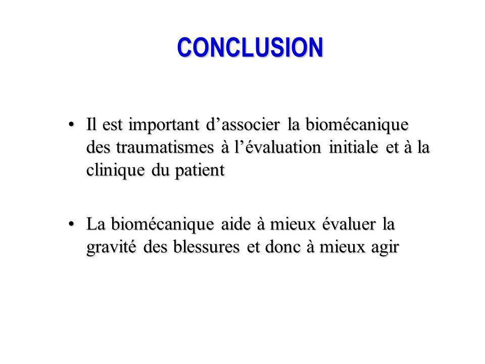 CONCLUSION Il est important d'associer la biomécanique des traumatismes à l'évaluation initiale et à la clinique du patient.