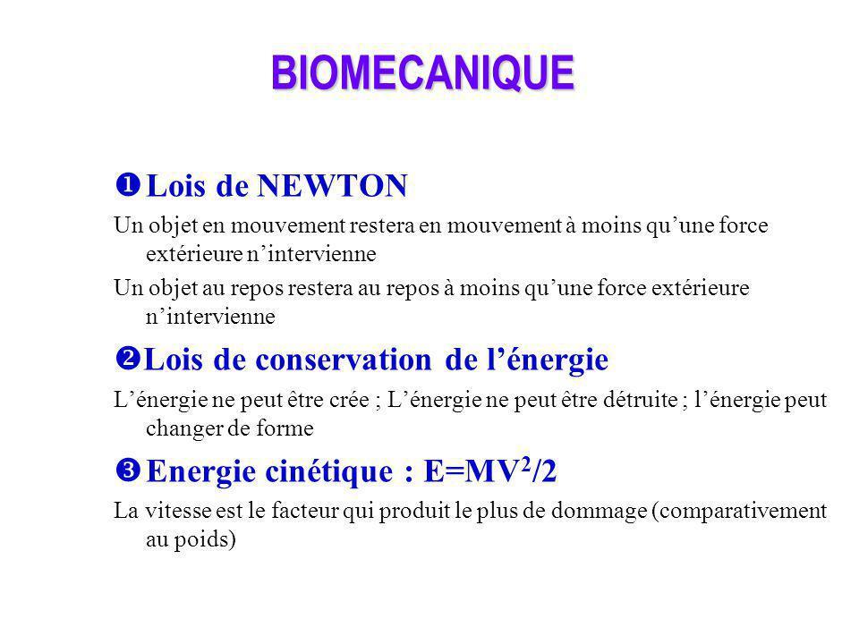 BIOMECANIQUE Lois de NEWTON Lois de conservation de l'énergie
