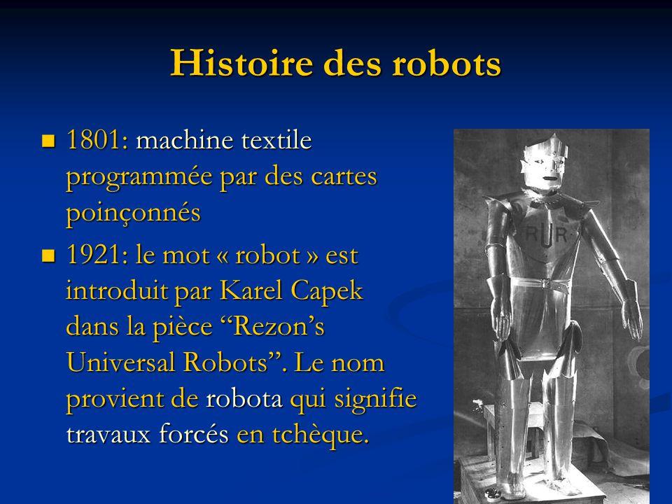 Histoire des robots 1801: machine textile programmée par des cartes poinçonnés.