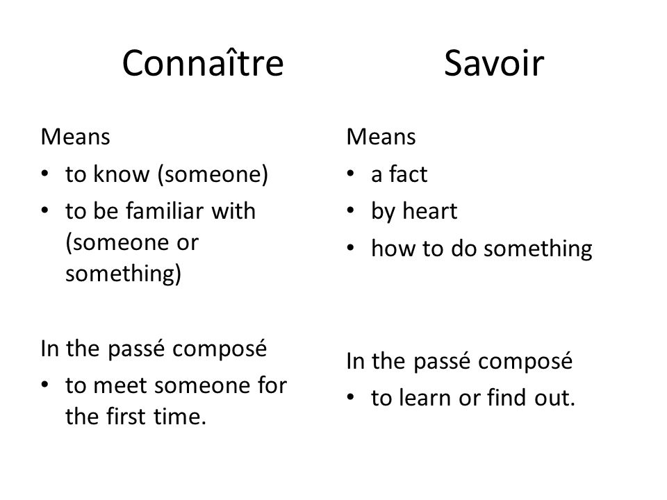 Connaître Savoir Means to know (someone)