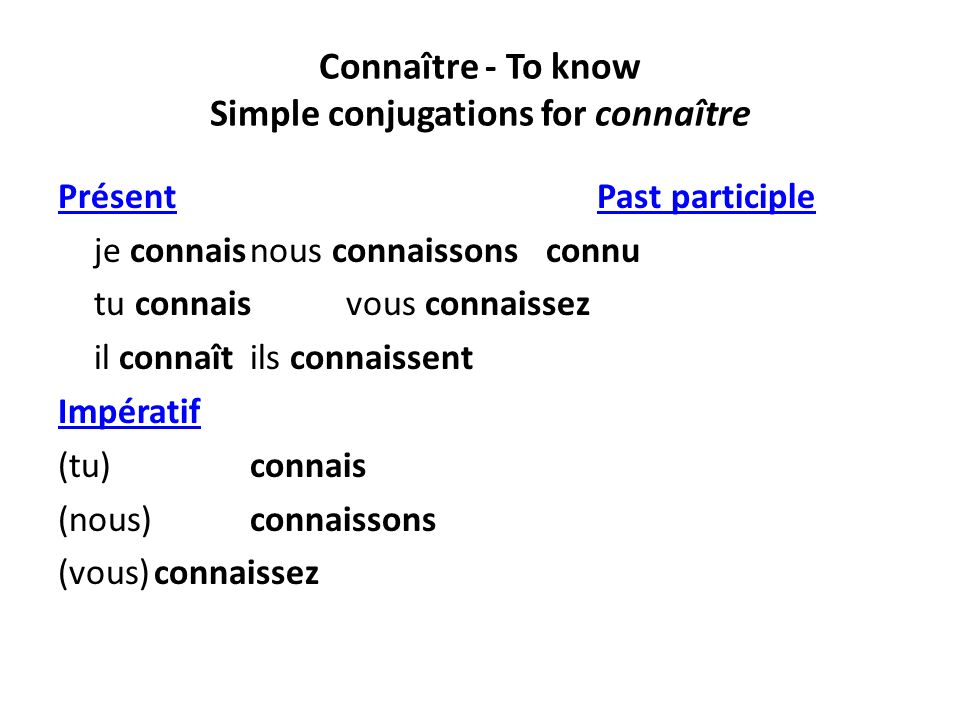 Connaître - To know Simple conjugations for connaître