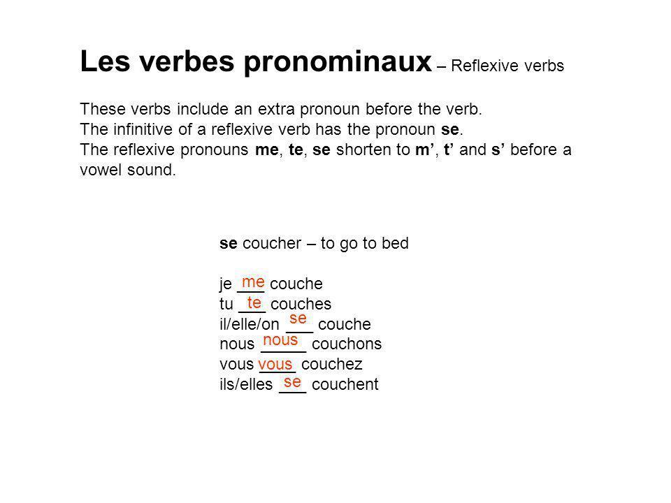 Les verbes pronominaux – Reflexive verbs