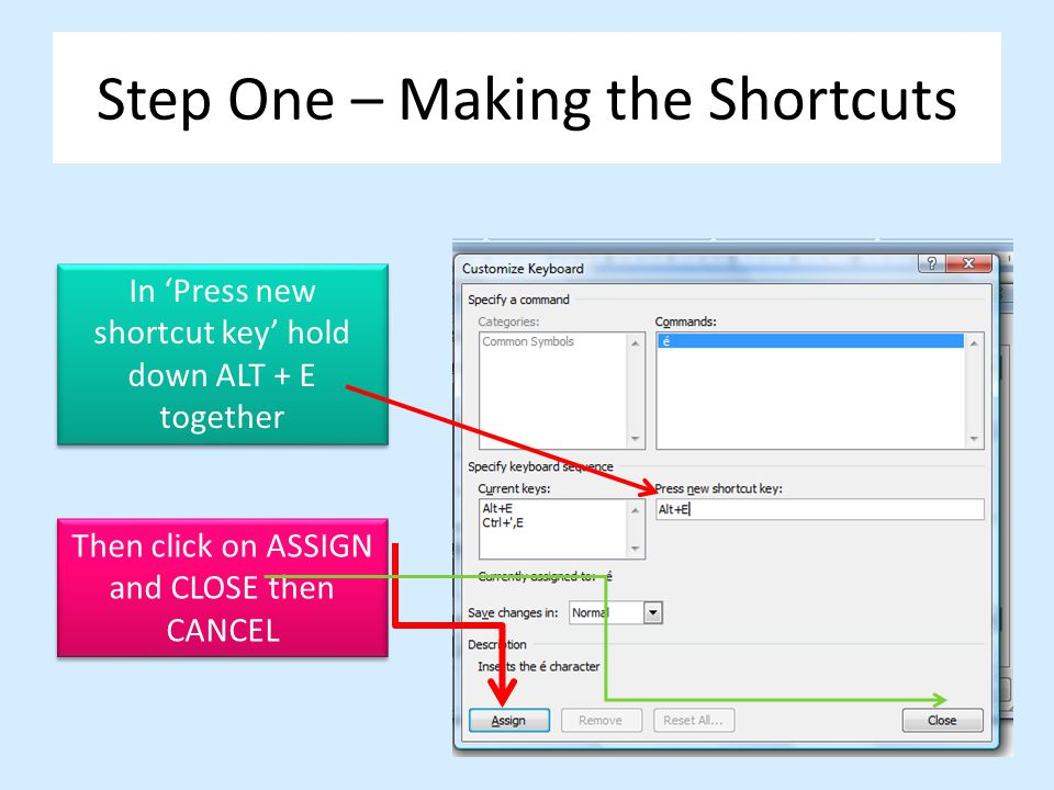 Step One – Making the Shortcuts