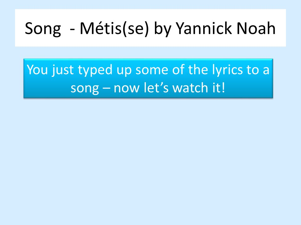 Song - Métis(se) by Yannick Noah
