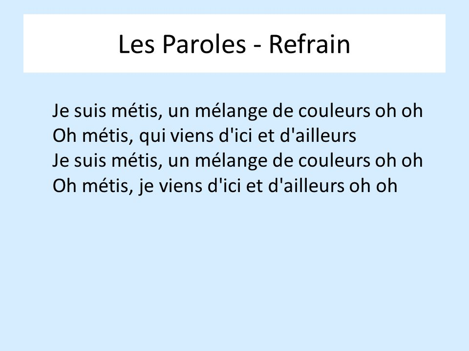 Les Paroles - Refrain