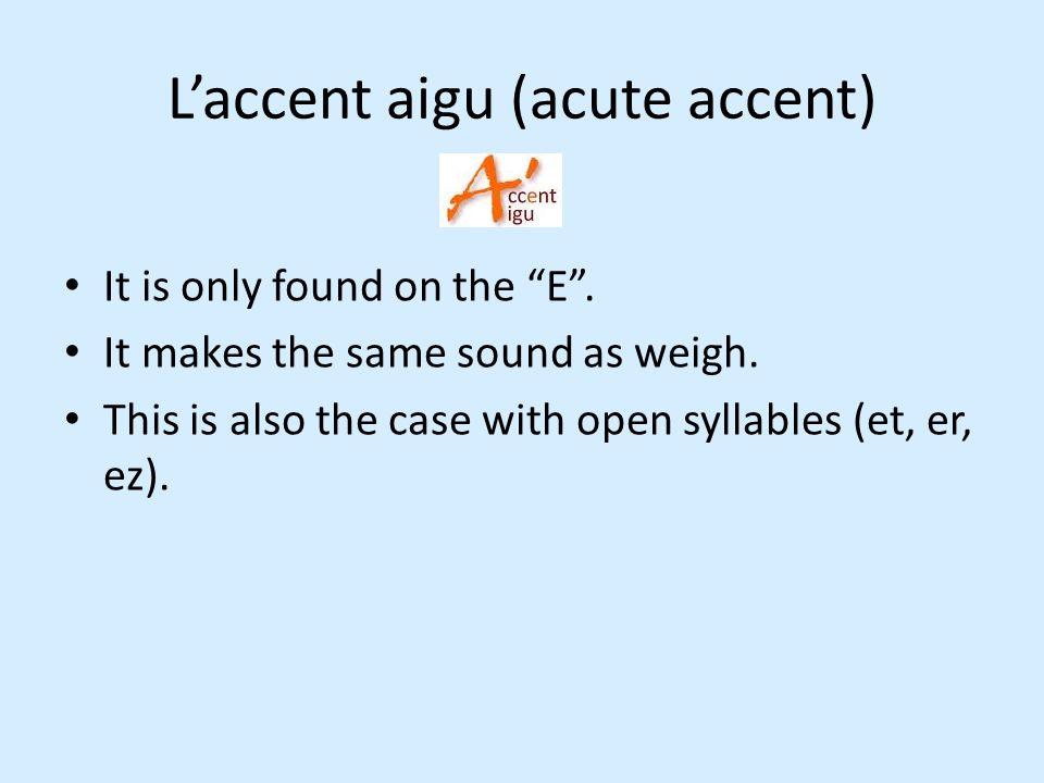 L'accent aigu (acute accent)