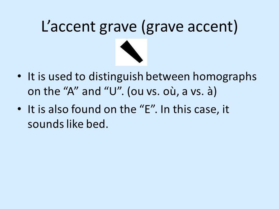 L'accent grave (grave accent)