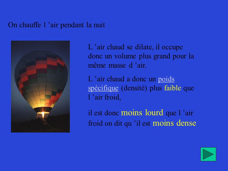 On chauffe l 'air pendant la nuit