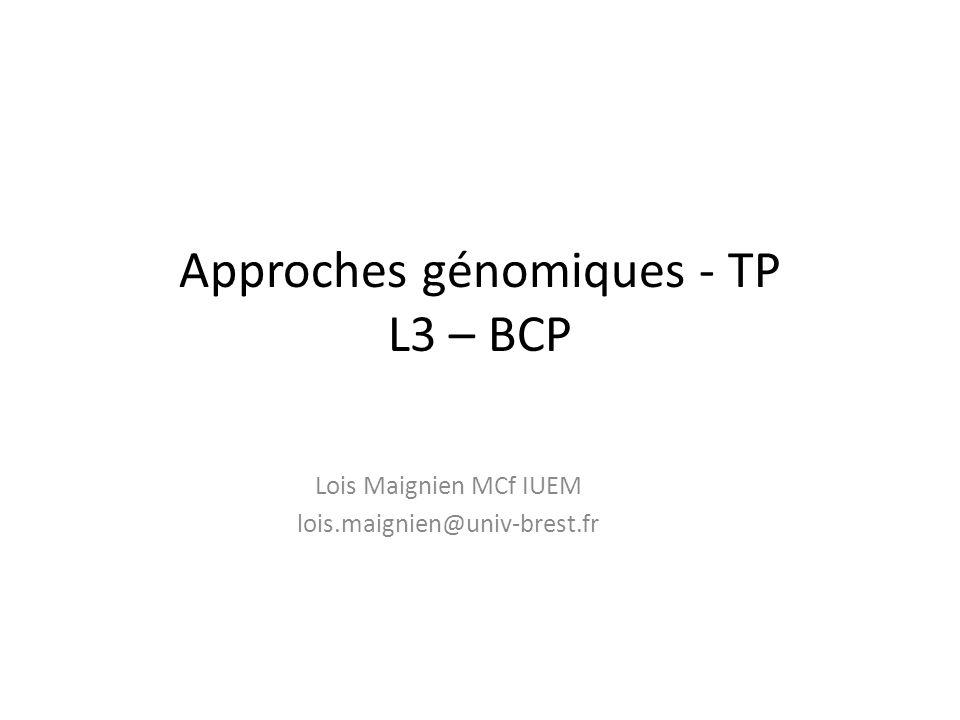 Approches génomiques - TP L3 – BCP