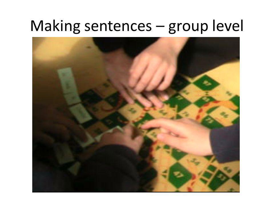 Making sentences – group level