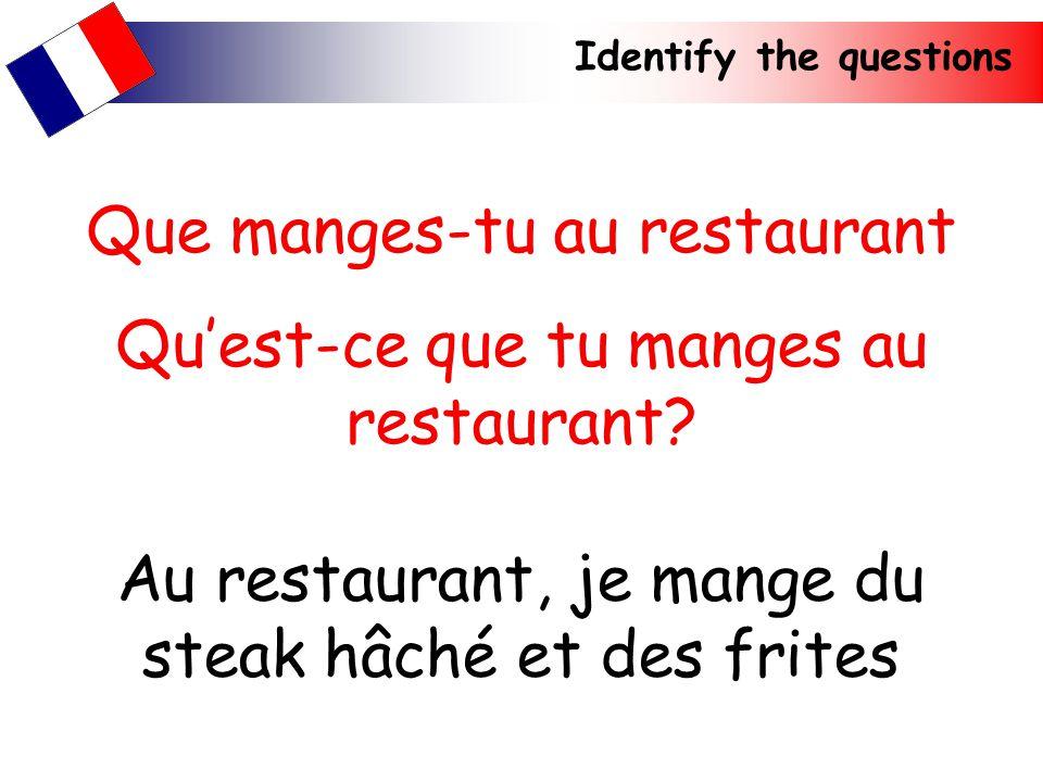 Que manges-tu au restaurant Qu'est-ce que tu manges au restaurant