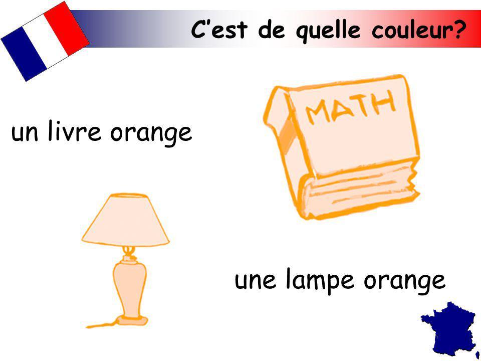 un livre orange une lampe orange C'est de quelle couleur