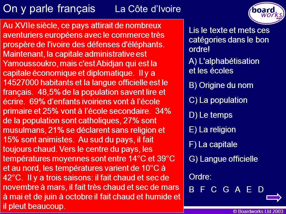 On y parle français La Côte d'Ivoire