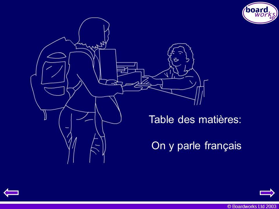 Table des matières: On y parle français Grammar Note