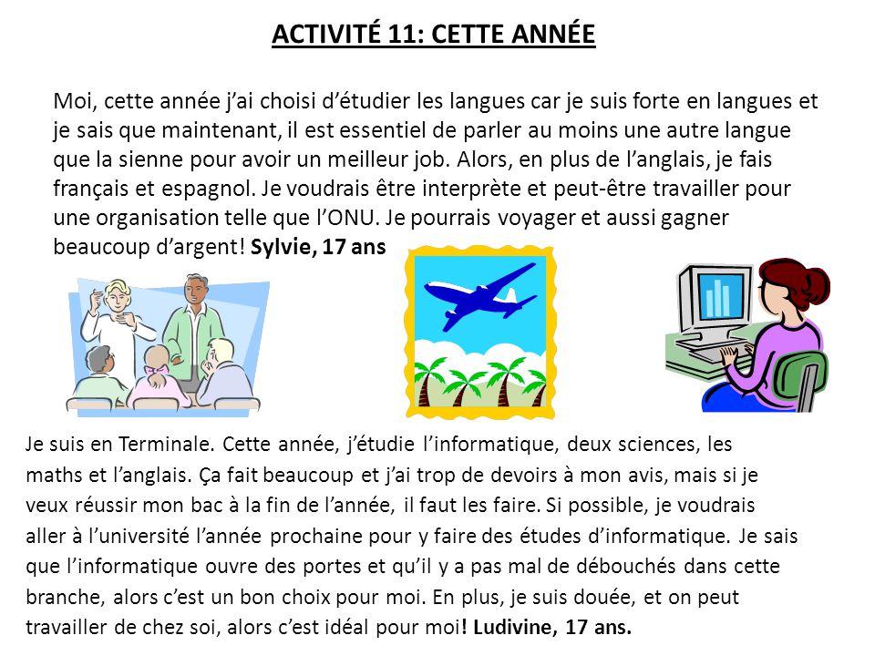 ACTIVITÉ 11: CETTE ANNÉE