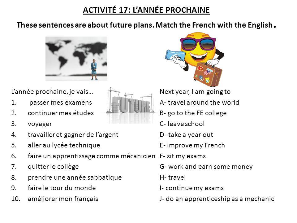 ACTIVITÉ 17: L'ANNÉE PROCHAINE These sentences are about future plans