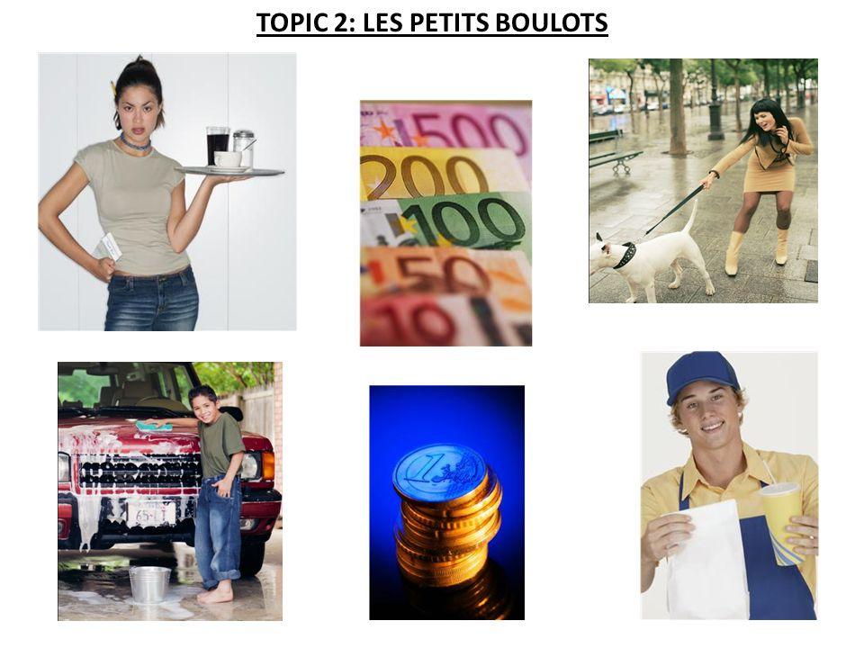TOPIC 2: LES PETITS BOULOTS