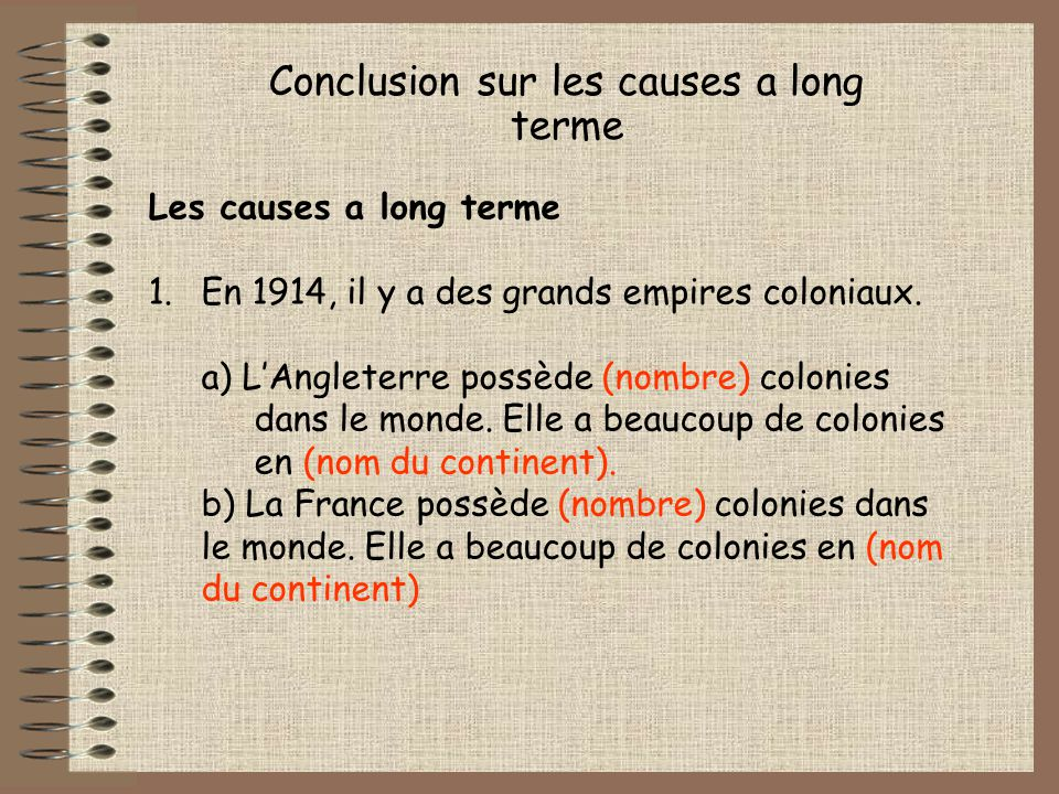 Conclusion sur les causes a long terme