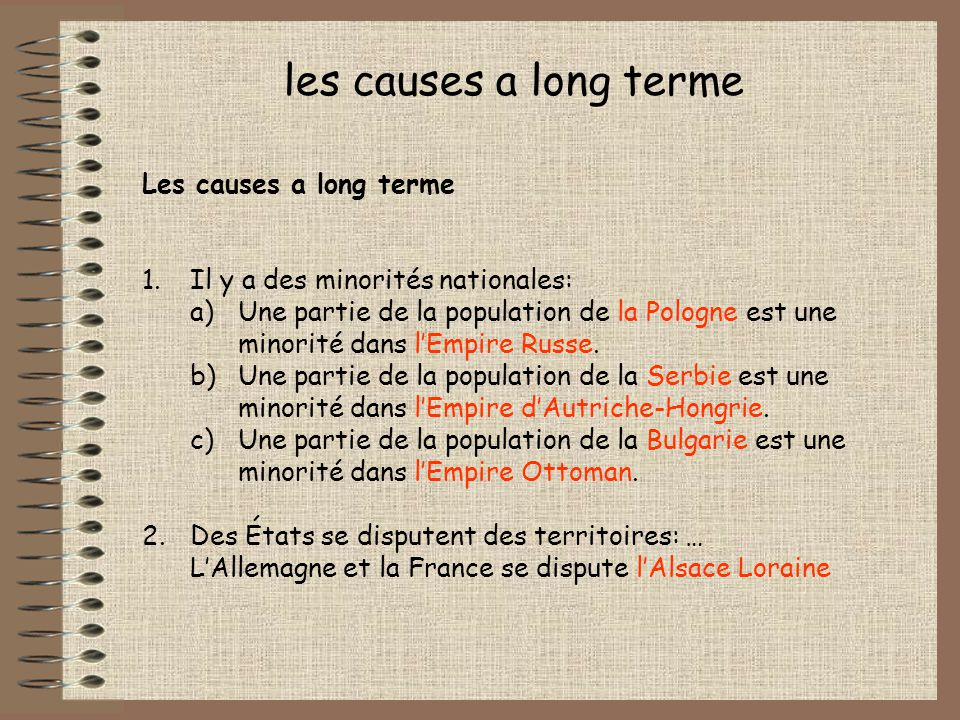 les causes a long terme Les causes a long terme