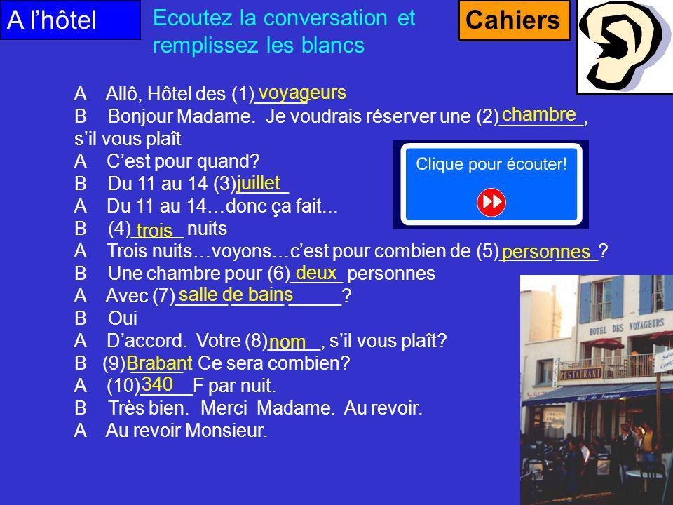 A l'hôtel Cahiers Ecoutez la conversation et remplissez les blancs