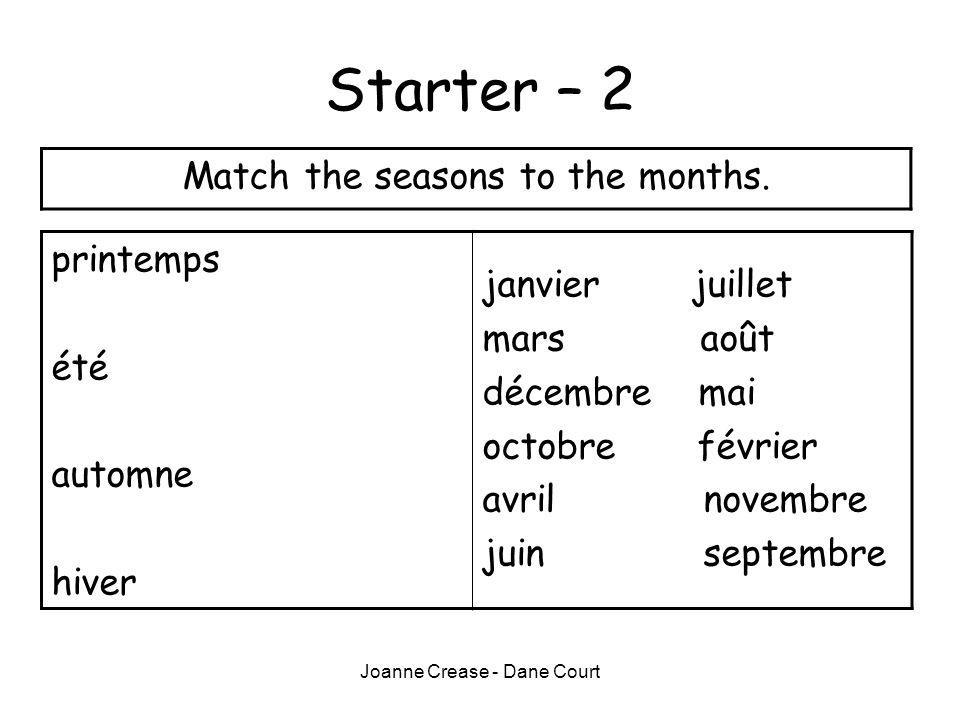 Starter – 2 Match the seasons to the months. printemps janvier juillet