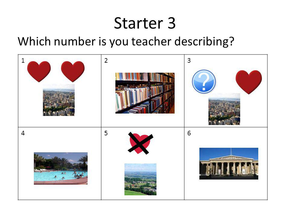 Starter 3 Which number is you teacher describing 1 2 3 4 5 6