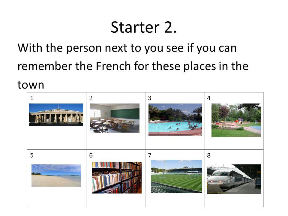 Starter 2. With the person next to you see if you can remember the French for these places in the town