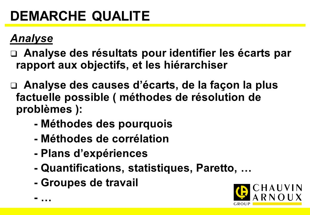 DEMARCHE QUALITE Analyse