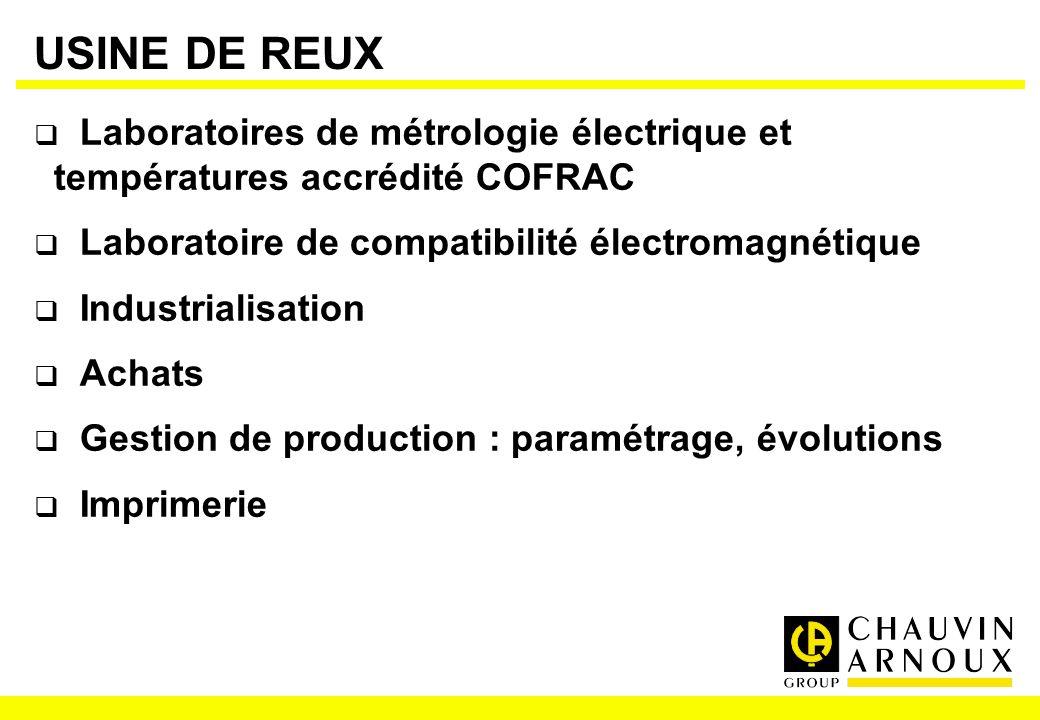 USINE DE REUX Laboratoires de métrologie électrique et températures accrédité COFRAC. Laboratoire de compatibilité électromagnétique.