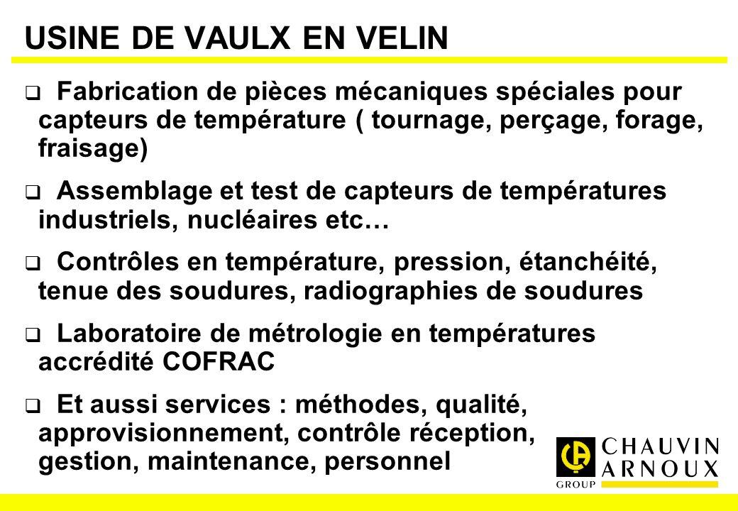 USINE DE VAULX EN VELIN Fabrication de pièces mécaniques spéciales pour capteurs de température ( tournage, perçage, forage, fraisage)