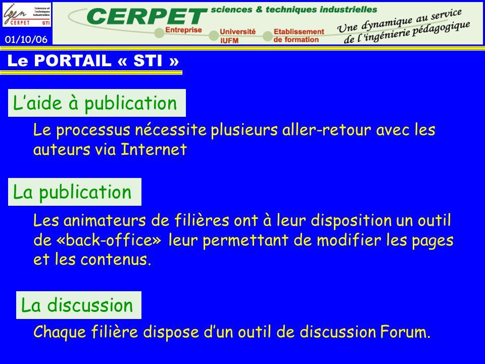 L'aide à publication La publication La discussion Le PORTAIL « STI »