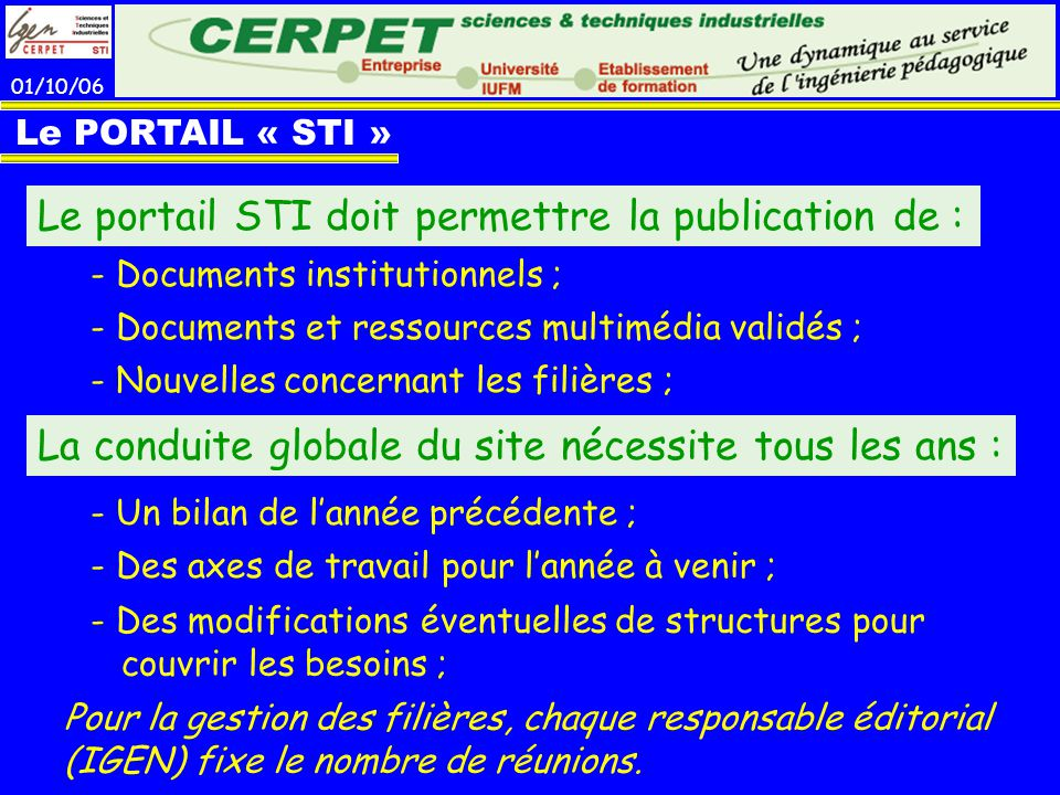 Le portail STI doit permettre la publication de :