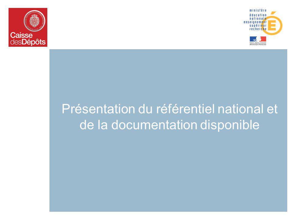 Présentation du référentiel national et de la documentation disponible