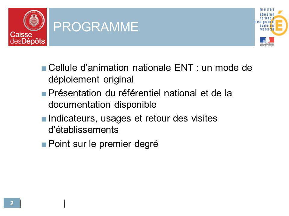 PROGRAMME Cellule d'animation nationale ENT : un mode de déploiement original.