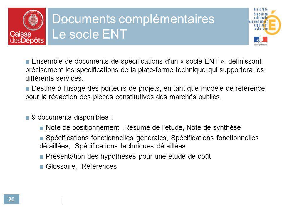 Documents complémentaires Le socle ENT