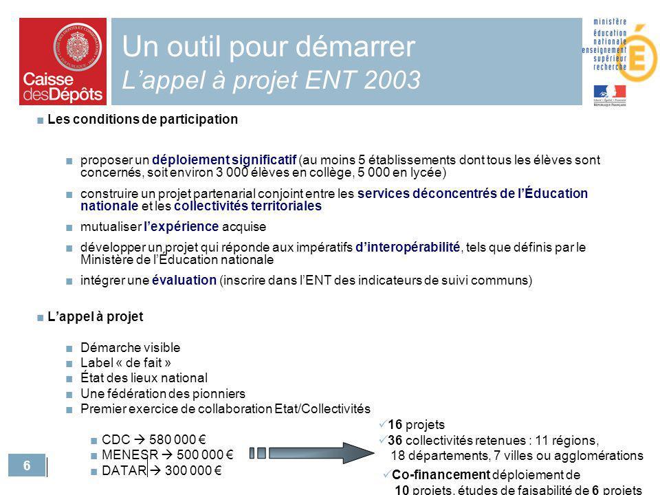 Un outil pour démarrer L'appel à projet ENT 2003